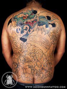 Fu Dogs | Jason Dunn Tattoo Jason Clay Dunn, Jason Dunn, Foo Dog Tattoo, Fu Dog, Body Suits, Back Tattoos, Tattoo Inspiration, Tattos, Body Art