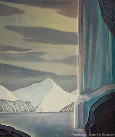 "Rockwell Kent, Frozen Fall, Alaska 1919, oil on canvas, mounted on panel, 34 x 28-1/4"""