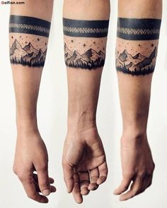 Creative Mountain Armband Men Tattoo On Lower Side
