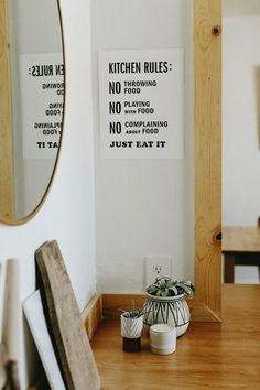 Letterpress: Kitchen Rules Letterpress on thick white paper Print size: 11 x 14 My Kitchen Rules, Cow Kitchen, Kitchen Wall Art, Kitchen Posters, Kitchen Prints, Studio Mcgee, Country Wood Crafts, Grey Kitchens, Letterpress Printing