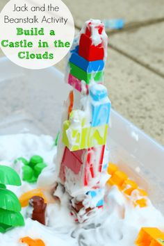 Jack and the Beanstalk Activity: Build a Castle in the Clouds Jack and the Beanstalk Learning Activity. Engineering and sensory activity to go with the book! Fairy Tale Activities, Eyfs Activities, Learning Activities, Preschool Activities, Children Activities, Teaching Ideas, Toddler Learning, Toddler Preschool, Nursery Rhymes Preschool