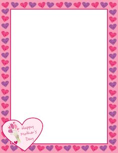 Free mother's day border templates including printable border paper and clip art versions. File formats include GIF, JPG, PDF, and PNG. Vector images are also available. Borders For Paper, Borders And Frames, Border Templates, Card Templates, Printable Border, Free Printable, Printable Labels, Mothers Day Card Template, Valentines Day Bulletin Board