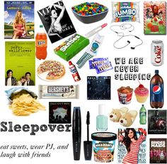 """everything we need for a EPIC sleepover"" by beautyandthetardis ❤ liked on Polyvore"