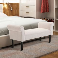 Charlton Home Abram Vanity Accent Upholstered Bench Upholstery: Cream White Sophisticated Bedroom, Stylish Bedroom, Bed Bench, Ottoman Bench, Leather Bench, Upholstered Storage Bench, Bedroom Furniture, Bedroom Benches, Storage Spaces