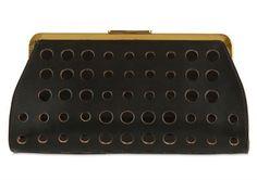 arni Perforated Leather & Patent Clutch
