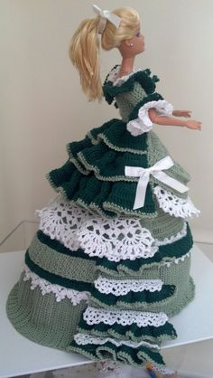 Crochet Barbie Doll green dress