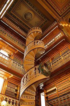 Spiral staircase library Des Moines Iowa USA