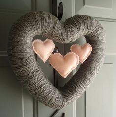 Triple Heart Handmade Front Door Yarn Wreath