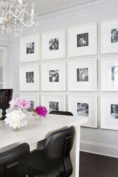 clean gallery wall. (This is what I've got in mind for the baby pics)
