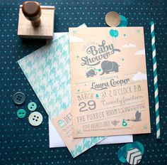 Elephants baby shower invitations in any color for baby boys, girls, or gender neutral. Vintage blue baby shower invites.