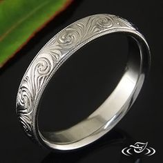 SCROLL ENGRAVED BAND #GreenLakeJewelry