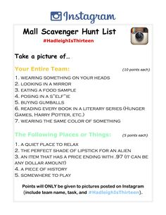 11 Best Mall Scavenger Hunt Images Mall Birthday Party Photo