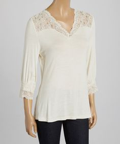Take a look at the Natural Circle Lace V-Neck Top on #zulily today!