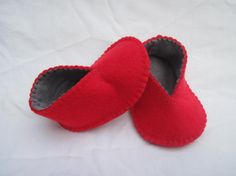 Baby Booties  Red & Grey Felt Baby Shoes by GracesFavours, £14.00