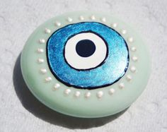 EVIL EYE MAGNET - Hand Painted Decorative Glass Pebble, Turkish Style, Great Complementary Gift, Minimal Kitchen Decor, Fridge Magnet