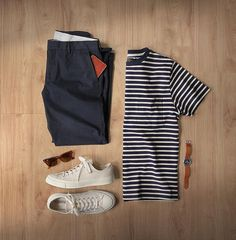 Minimal navy days  #MRPORTERontheroad  T-Shirt: @mrporterlive @beams_official Beams Plus Striped Tee Chinos: @jcrew Bowery Slim Shoes: @converse 70s All-Star in Natural Watch: @tsovet Wallet: @miansai Glasses: @rayban