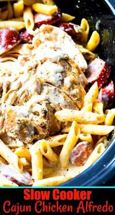 Slow Cooker Cajun Chicken Alfredo with Sausage Slow Cooker Recipes, Crockpot Recipes, Chicken Recipes, Cooking Recipes, Alfredo With Sausage, Kielbasa Sausage, Cooking Together, Chicken Alfredo, Chicken Seasoning
