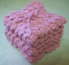 Cotton Crocheted Washcloths in Rose Pink  set by roadstoeverywhere, $7.50