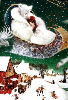 И, посадив мальчика к  себе  в сани, она завернула его в свою шубу; Кай словно опустился в снежный сугроб...