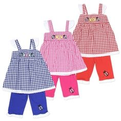 Infant Set - Ladybug and Plaid Top / Capri Outfit - 12M - 24M