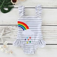 Summer Swimwear, Kids Swimwear, Swimsuits, Bikinis, Rainbow Beach, Girls One Piece Swimsuit, Ruffle Swimsuit, Girls Bathing Suits, Baby Girl Fashion