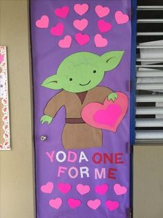 "Valentine's day classroom doors ""Yoda one for me"" pun Yoda and hearts #classroom #classroomdecor #classroomideas #preschool #diyclassroomdecor"