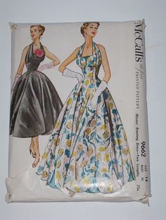 Vintage 50s Halter Evening Dress Pattern McCalls 9662