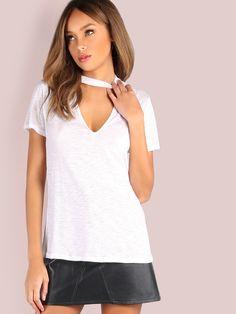 Camiseta con cuello en V de manga corta - blanco -Spanish SheIn(Sheinside) 4b57cf3d726e2