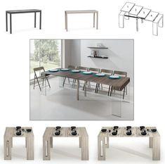 Table extensible noir laqué + 6 chaises colami blanc Vente