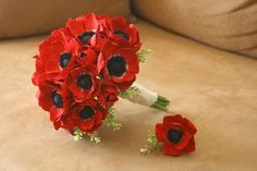 sunflower and anemone bouquet | Red Bouquet Boutonniere Fall Spring Summer Winter Wedding Flowers ...