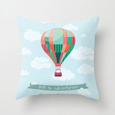 Let's be adventurers throw pillow indoor outdoor by PaperBoundLove
