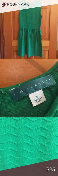 Pim + Larkin green A-line dress Pim + Larkin green A-line dress from Piperlime company. Size small. Back zipper. Side pockets.  Fun swirl design in fabric. Can be dressed up with accessories or left casual. Excellent condition! Piperlime Dresses Midi