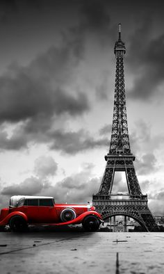 Modern Framed Wall Art, Eiffel Tower and Red Car Picture Canvas Wall Art Print -- Awesome products selected by Anna Churchill Torre Eiffel Paris, Paris Eiffel Tower, Paris Wallpaper, City Wallpaper, Splash Photography, Paris Photography, Color Splash, Color Pop, Wallpaper Bonitos