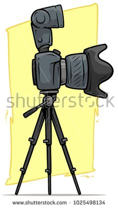 Cartoon digital photo camera with big lens and flash on tripod. Vector icon.