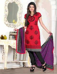 Red,Black & Pink Color Chanderi based Semi Stitch Dress Material - JustKartIt