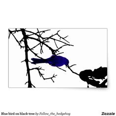 Blue bird on black tree rectangular sticker Find out other colors and versions.