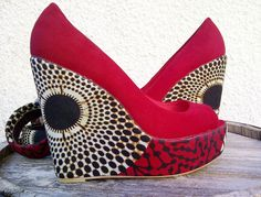 Red African Print Wedge by SouthOfAfrica on Etsy, $60.00