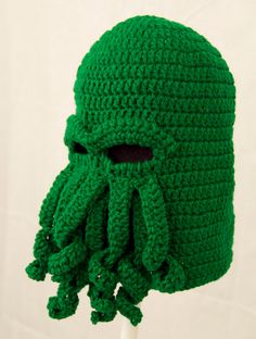 Cthulhu Ski Mask Hat, Green Crochet Beanie, send size choice baby - adult. $40.00, via Etsy.