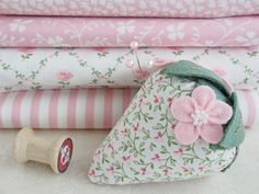 Laura Ashley fabric strawberry pincushion with pink felt blossoms - Pretty By Hand