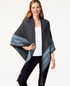 Charter Club Patterned-Hem Tasseled Poncho, Only at Macy's
