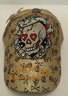 Don Ed Hardy Love Kills Slowly baseball cap hat Christian Audigier studded new