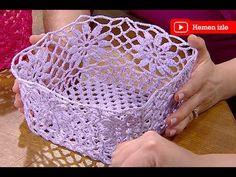 Kolalı Sepet Yapımı - YouTube Free Crochet Bag, Crochet Bowl, Crochet Fruit, Love Crochet, Learn To Crochet, Crochet Lace, Crochet Snowflake Pattern, Crochet Snowflakes, Crochet Fairy
