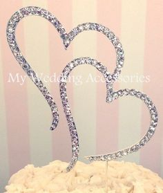 DOUBLE HEART CAKE TOPPER Silver Wedding Engagment Anniversary Crystal Rhinestone