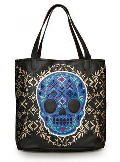 """Skull Detail"" Tote by Loungefly (Black/Gold) #InkedShop #tote #bag #skull #sugarskull"