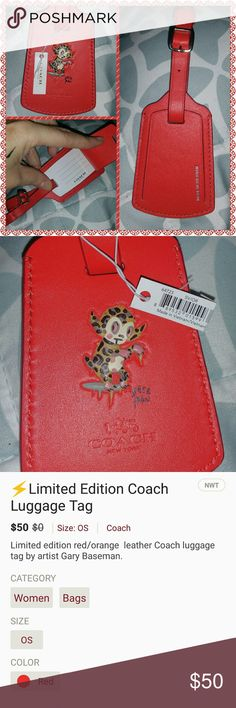 Coach Luggage Tag Monkey LIMITED ADDITION SOLD OUT Base Man Red / Orange Luggage Tag Leather New With Tags - I have two of these - price is per each tag. Coach Bags Travel Bags