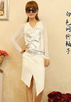 2013 Korean Style Slim Irregular Vogue Chiffon Dress--Click the picture can place an order, we support wholesale.