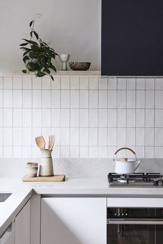 I like the monotone palette an tile pattern. Simple. Highett House — Bicker #kitchen