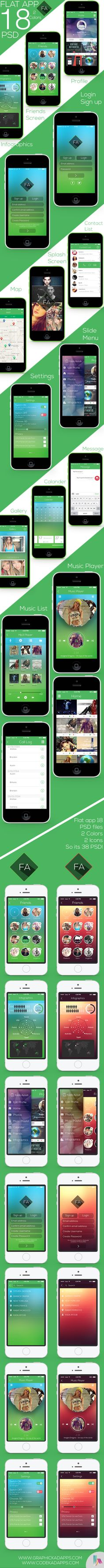 Flat app Ui Full Project Free Download by Graphic Kadapps, via Behance
