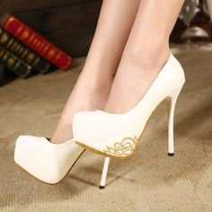 Women's Wedding Shoes White Delicate Golden Flower Stiletto Heels Bridal Shoes Fall Fashion Trends 2017 Summer Outfits 2017 Mermaid Wedding Dress Heels Winter Wedding Gown Shoes for Date, Wedding, Big day Studded Heels, High Heels Stilettos, Stiletto Heels, Shoes Heels, White Heels, Date Shoes, Dress Shoes, Bridal Shoes Online, Prom Heels