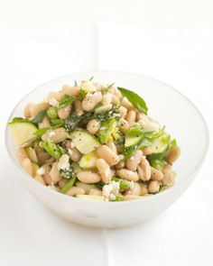 White beans add heartiness while chopped zucchini adds crunch to this delicious vegetarian salad. White-Bean Salad with Zucchini and Parmesan - Martha Stewart Recipes Vegetarian Recipes, Cooking Recipes, Healthy Recipes, Vegetarian Salad, Cooking Tips, Vegetarian Barbecue, Barbecue Recipes, Vegetarian Cooking, Healthy Dinners
